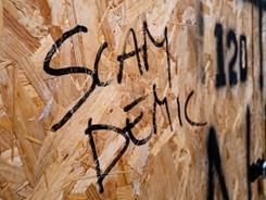 'Scamdemic' (scam+pandemic) wordt door sommigen gebruikt om Covid19 als een media hoax uit te roepen