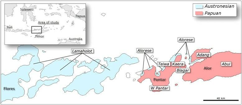 Kaart van de eilanden Alor en Pantar